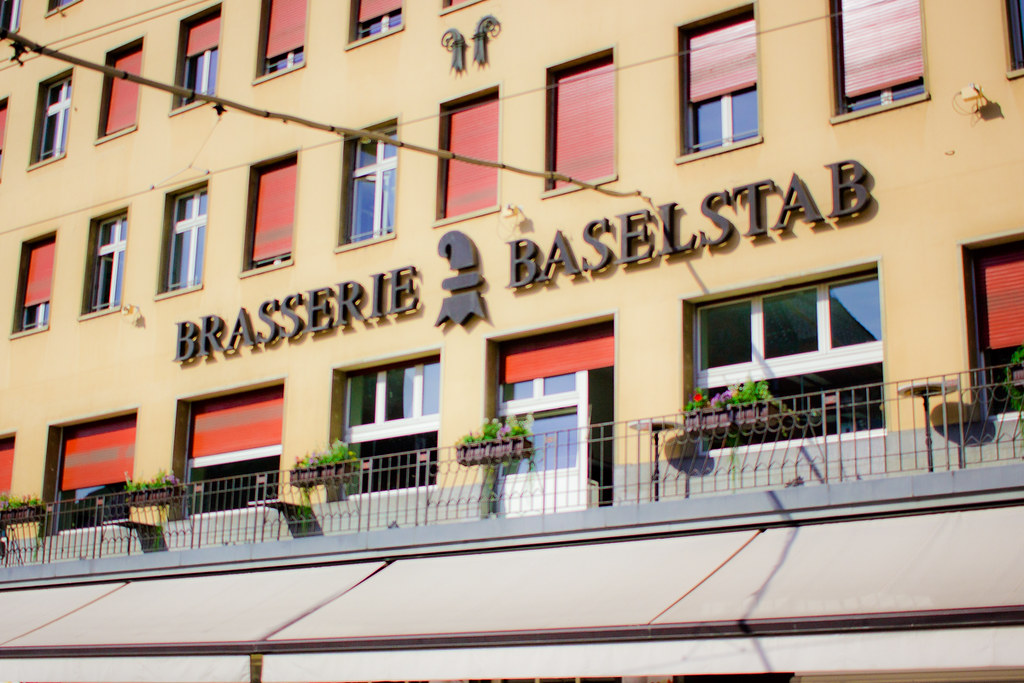 Brasserie-Baselstab-restaurant-exterior-sign-Basel-marketplace