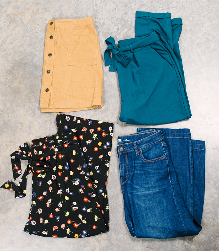 colorful fall capsule bottoms