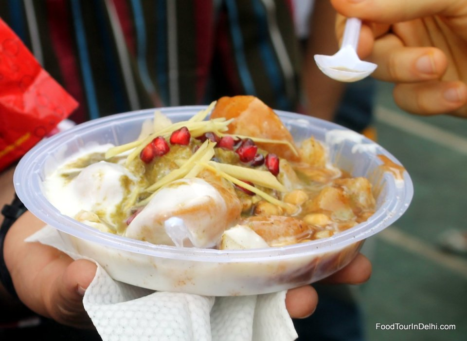 Trying out some Dahi Bhalla chaat