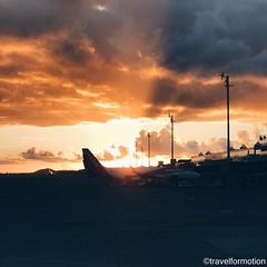 #sunset at landing #visitTenerife #wanderlust #tenerife #canaryisland #travel #travelgram #guardiantravelsnaps #islascanarias #spain #ig_europe #instatravel #vsco #vscocam #bbctravel #tourism #shotoniphone #explore #lovecanaryisland #tenerifetag #tarmac #