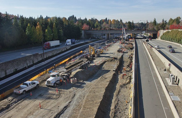 Mercer Island Link station construction