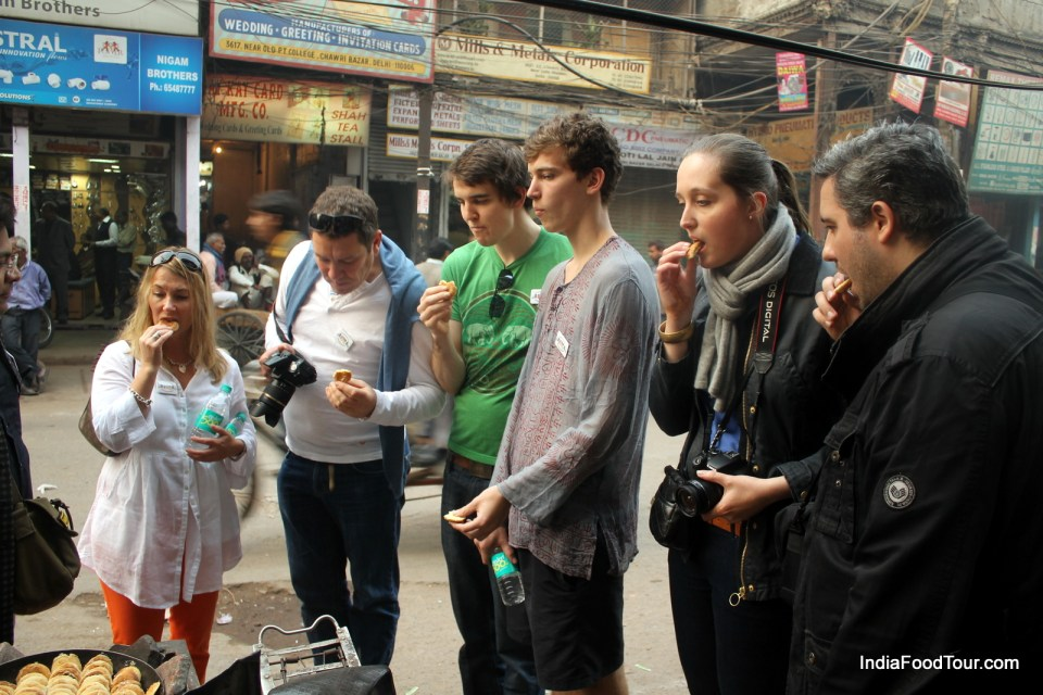 Tasting Naan Khatai from a street vendor
