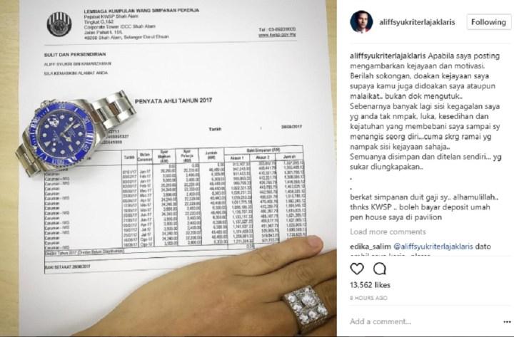 Muat Naik Penyata KWSP, Aliff Syukri Dikecam Netizen
