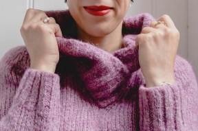 purple jumpers and red lips