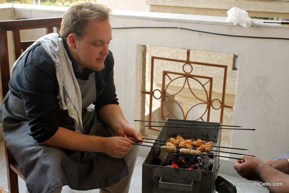 Learning to cook kabab and tikka on charcoal fire