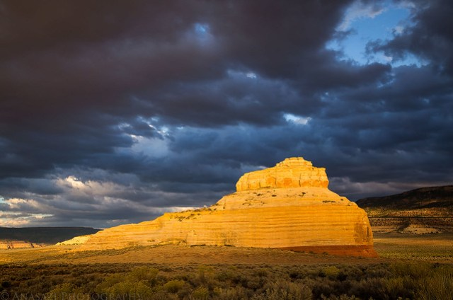Dark Clouds & Lit Sandstone