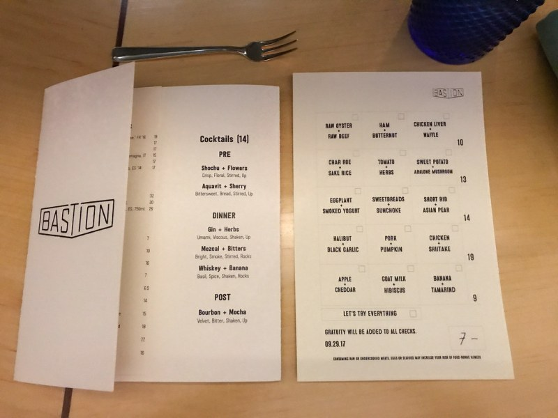 Menus at Bastion