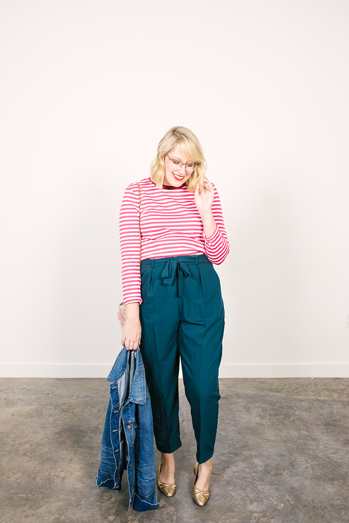 colorful fall capsule teal obi tie trousers pink striped shirt9
