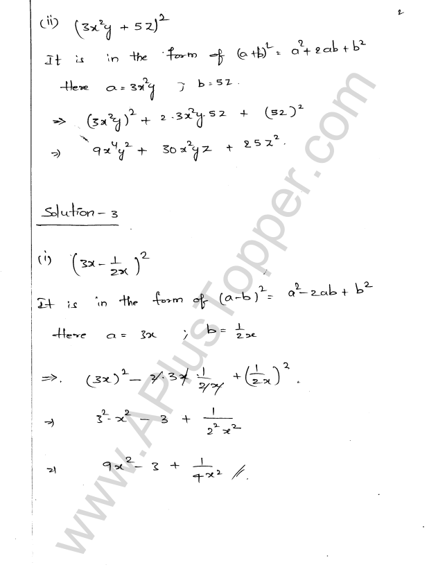 ML Aggarwal ICSE Solutions for Class 9 Maths Ch 3 Expansions - A ...