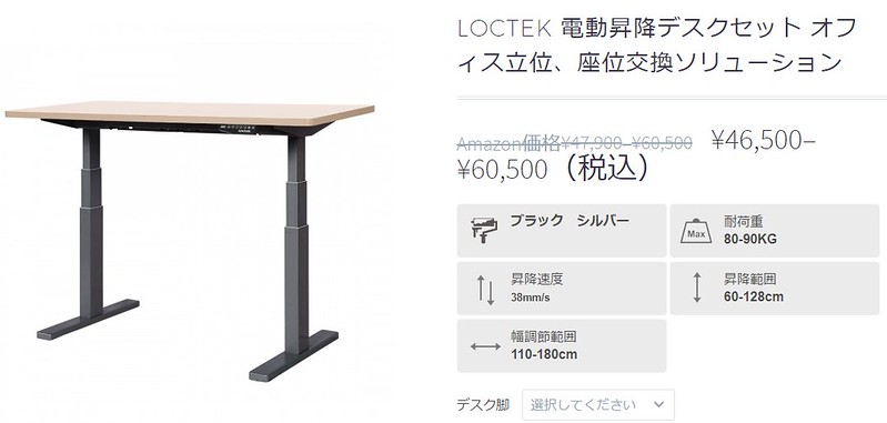 LOCTEK 電動昇降デスクセット 現在価格