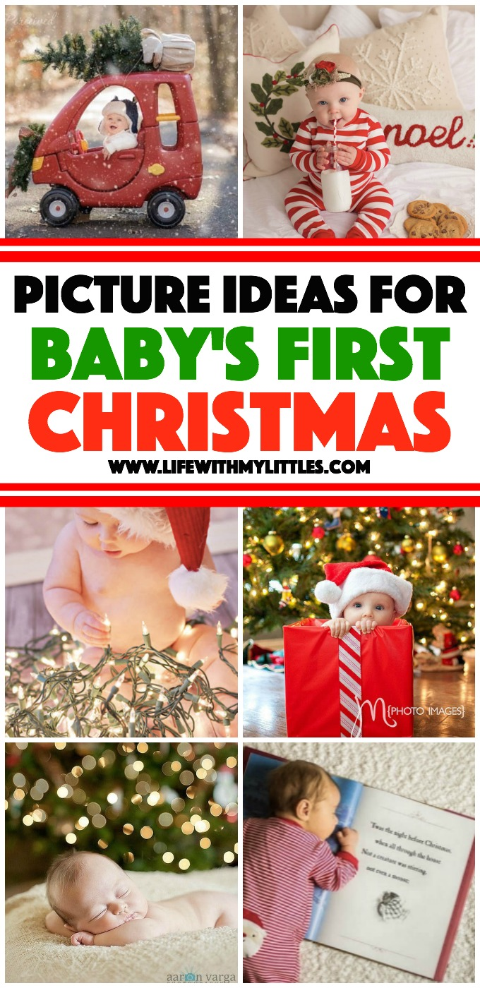 These 19 picture ideas for baby's first Christmas are so cute! If you're planning a baby photo shoot to celebrate, check this out!