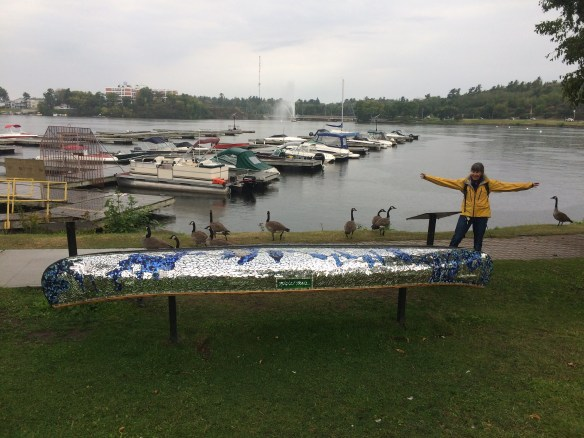Kenora Linda with Geese and a canoe