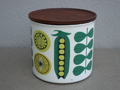 Finel Enamel & Rosewood Mid Century Modern Kitchen Storage Jar Made in Finland