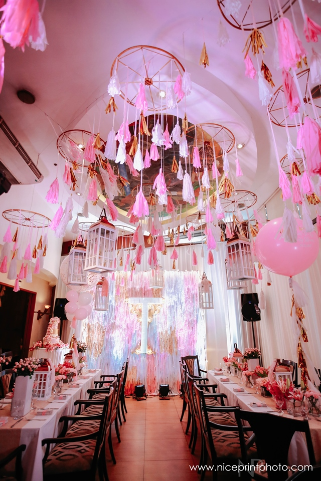 pauleen luna pretty in pink baby shower ceiling