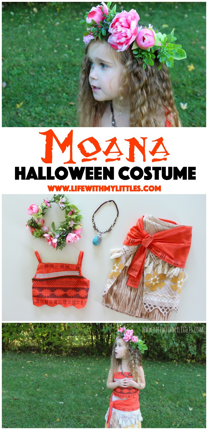 Love this Moana costume for a toddler girl! It's so cute, and the DIY flower crown is the perfect touch!
