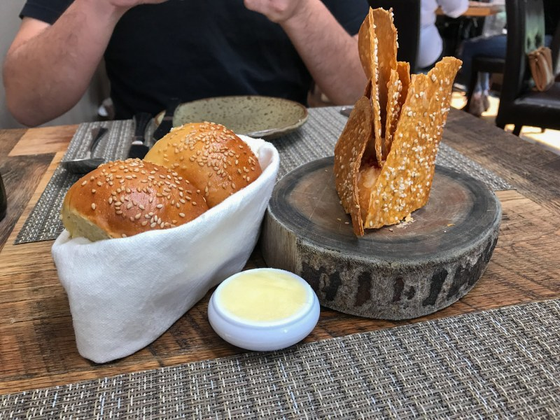 House-made Parker Rolls and Pimento Cheese with Benne Wafers ($10)