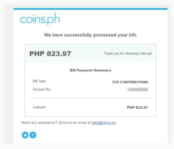 Coins.ph Payment Confirmation