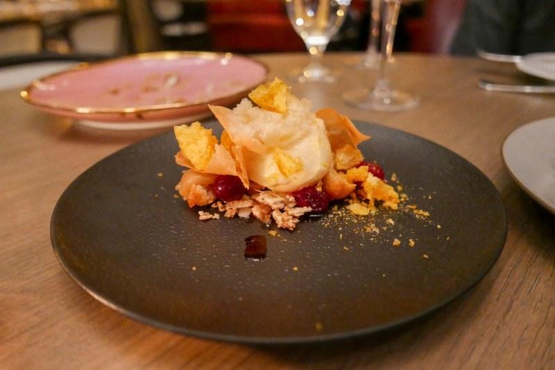 Satsuma Mandarin Sherbet, walnut financier, cranberries, crispy brown butter tuiles, maple toffee ($9)