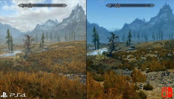 Skyrim - PS4 vs Switch Foliage