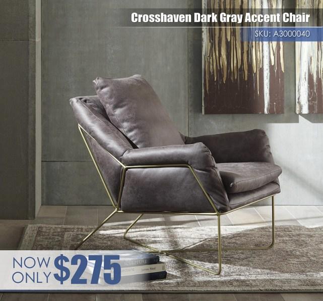 A3000040 - Crosshaven Dark Gray Accent Chair $275