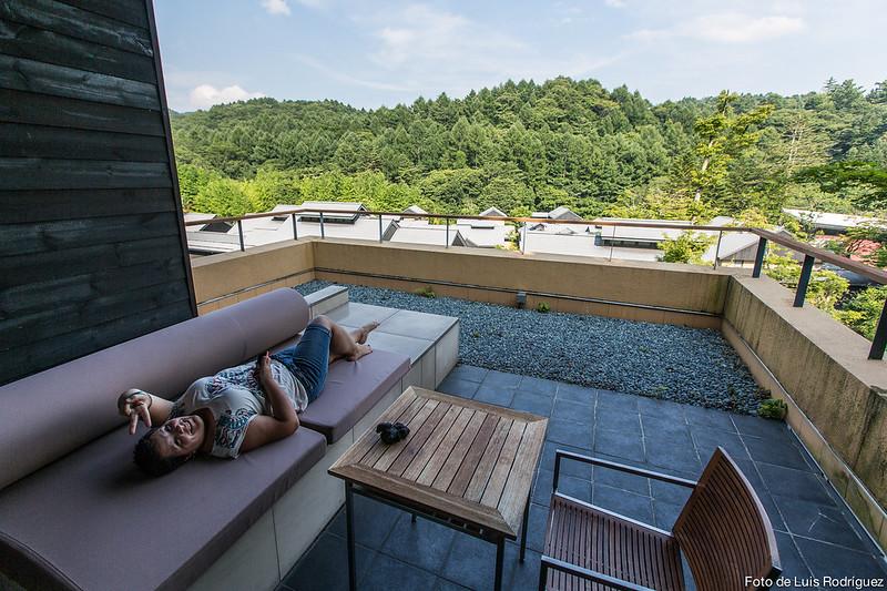 Terraza del apartamento en Hoshinoya Karuizawa