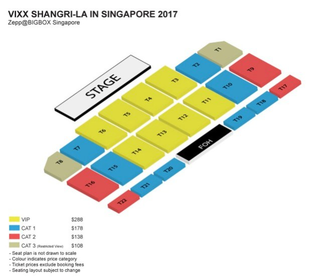 VIXX Shangri-La in Singapore 2017 Seating Plan