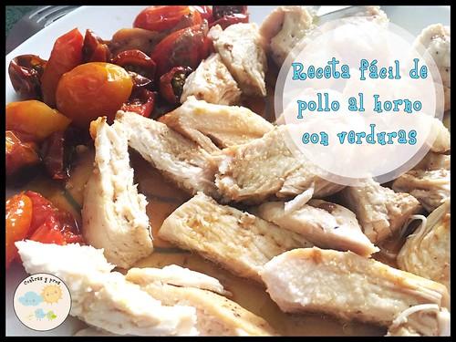 Receta fácil de pollo al horno con verduras