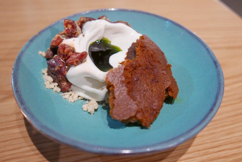 Sweet Potato Cake, Yogurt, Candied Ginger, and Nuts, Thyme Oil ($11)