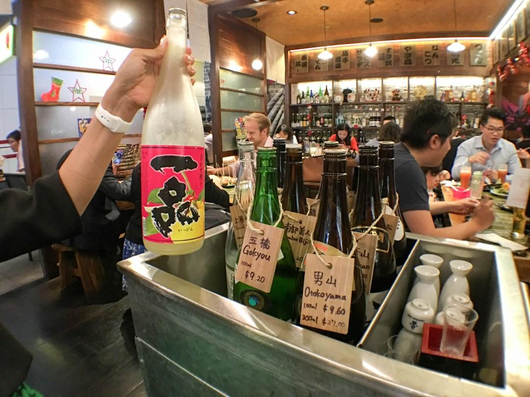 Sake cart at Izakaya Yebisu
