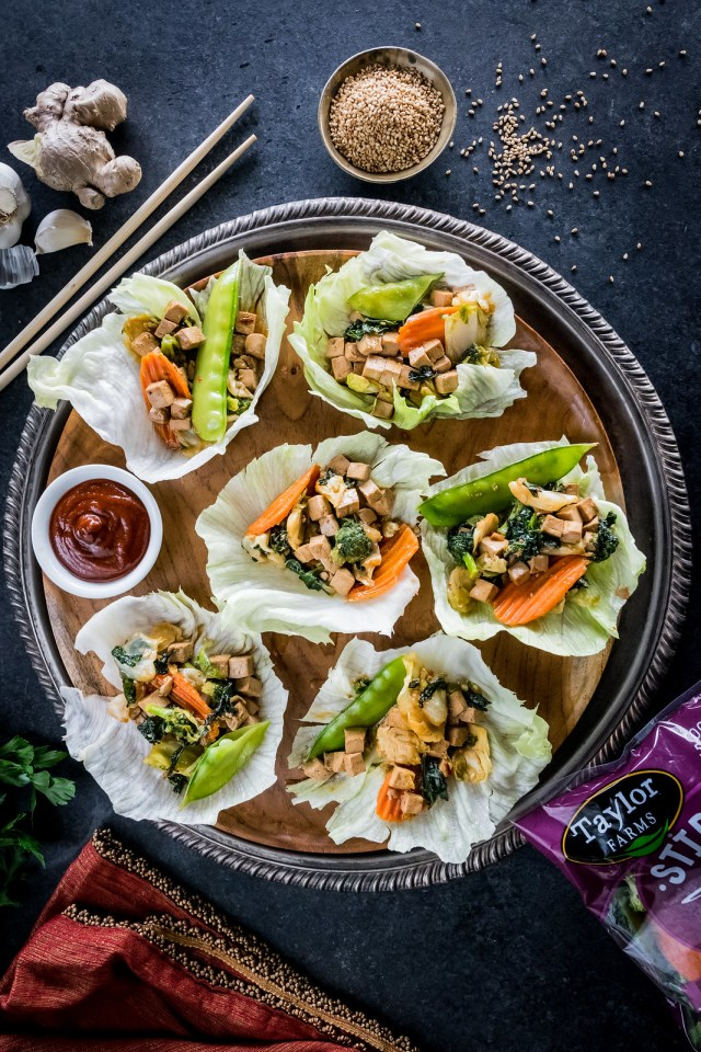 stir-fry veggie lettuce wraps with ginger-garlic tofu