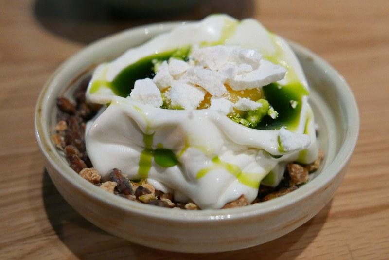 Frozen Yogurt, Lemon Curd, Meringue, Bay Leaf Oil, Seasoned Pumpkin Seeds and Nuts  ($11)