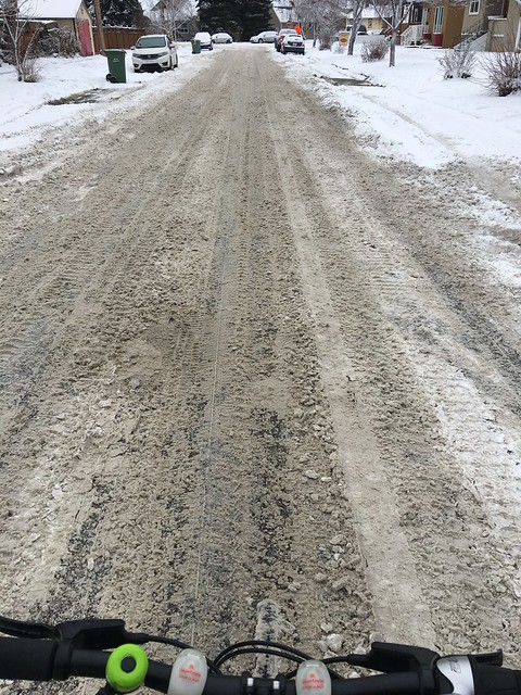 Snirt. Example of snow on the roads mixed with dirt