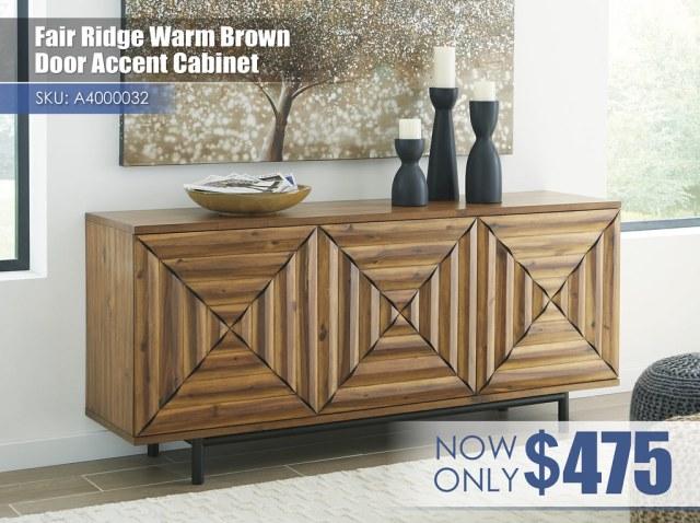 A4000032 - Fair Ridge Warm Brown Door Accent Cabinet $475