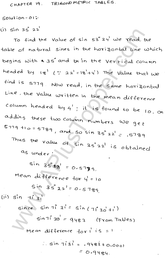 ml-aggarwal-icse-solutions-for-class-9-maths-ch-19-trigonometric- tables-1