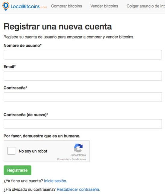 Formulario de registro en LocalBitcoins