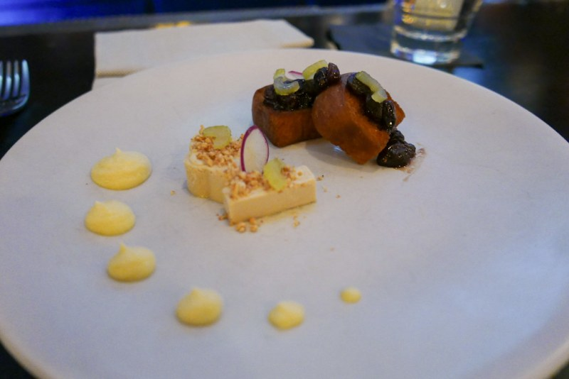 Foie Gras Mousse, Peanut Butter, Celery Root, Orange Peel, Raisin Jam, Pleasant House Bakery Brioche (Tasting Menu)