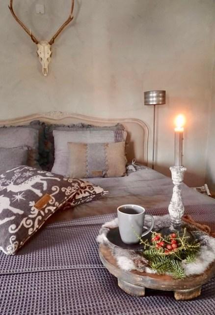 Kerstsfeer slaapkamer landelijk klassiek