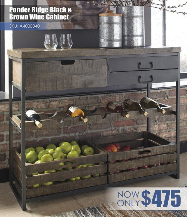 A4000040 - Ponder Ridge Black and Brown Wine Cabinet $475