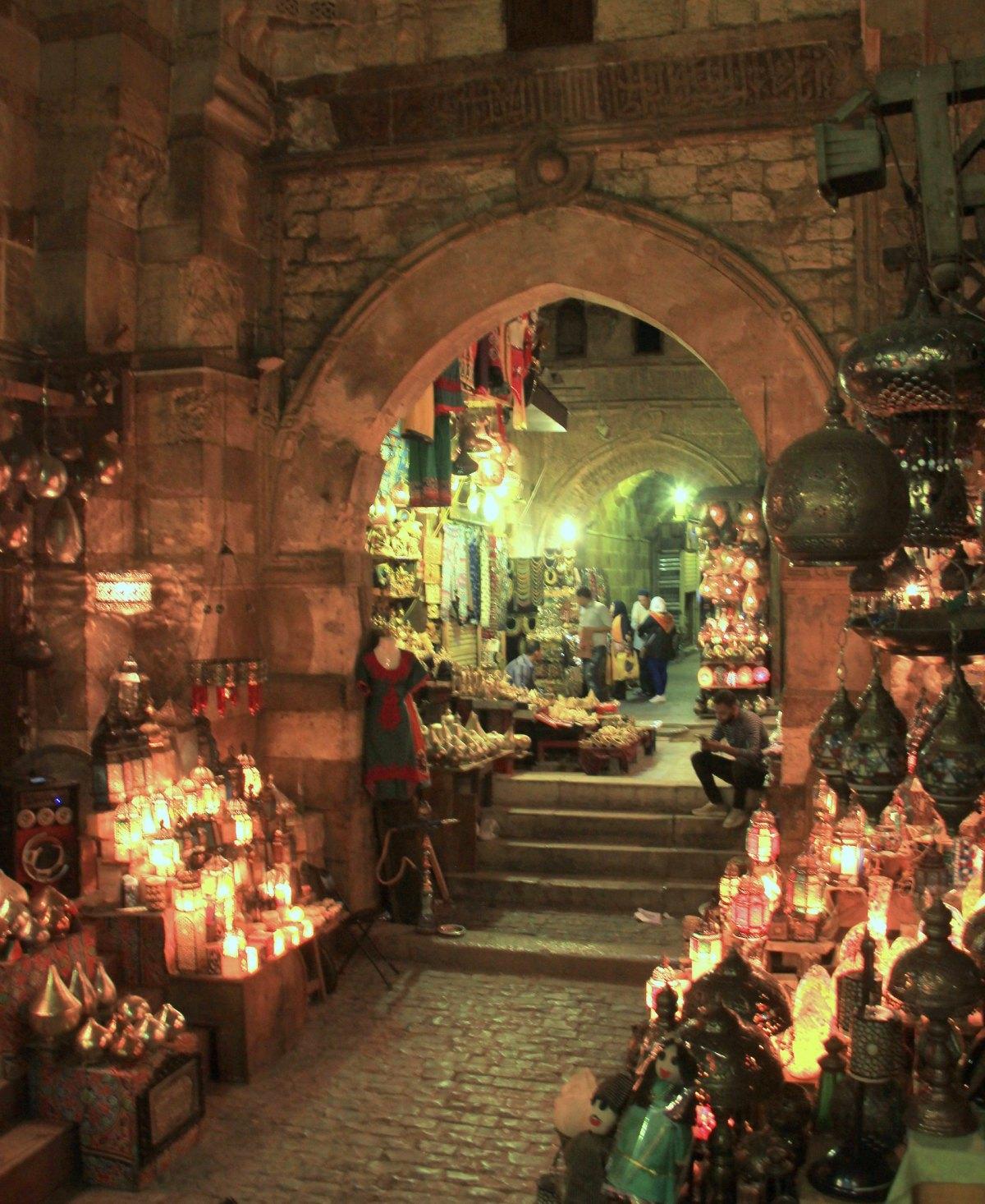 the lit up alleys of khan el khalili market