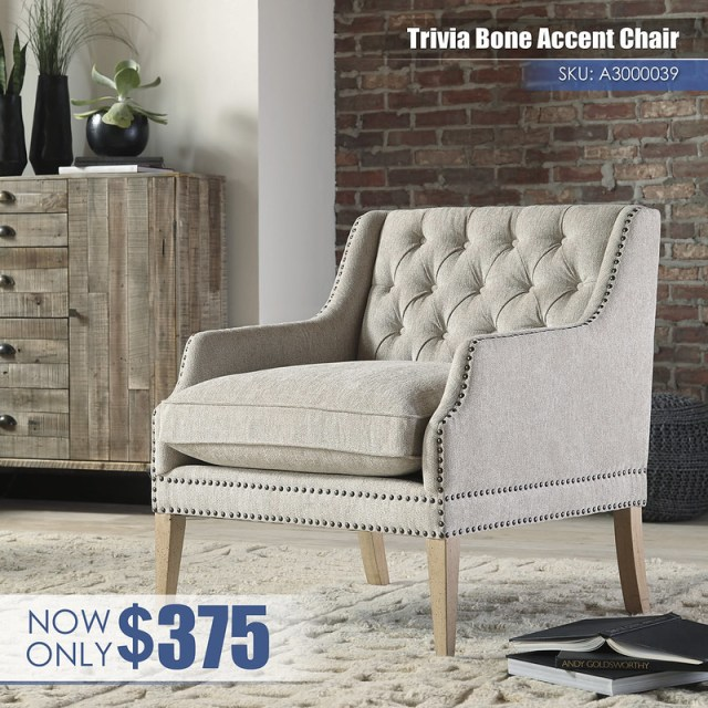 A3000039 - Trivia Bone Accent Chair $375