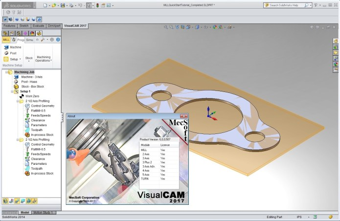 Working with MecSoft VisualCAM 2017 (v6.0.507) for SolidWorks 2010-2018