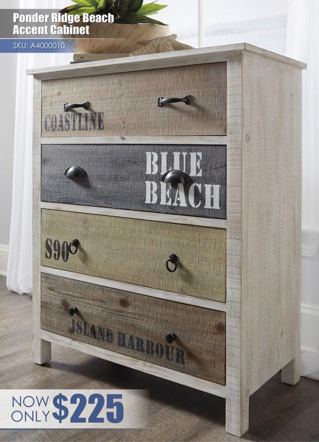 A4000010 - Ponder Ridge Beach Accent Cabinet $225
