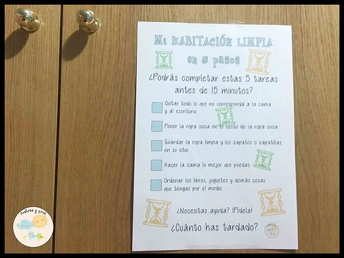 Lista de pasos para limpiar la habitación para niños. Imprimible gratis