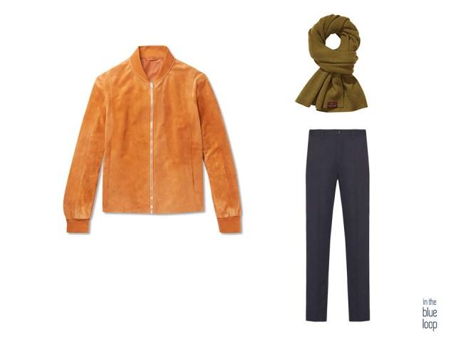 Lok smart casual masculino con cazadora de ante, pantalón azul de vestir y bufanda para hombre