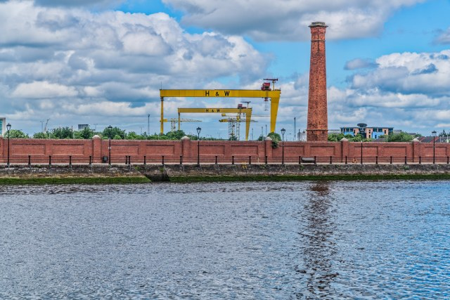 A NOT SO COMMON VIEW OF THE FAMOUS CRANES [SAMSON AND GOLIATH IN BELFAST]-134107