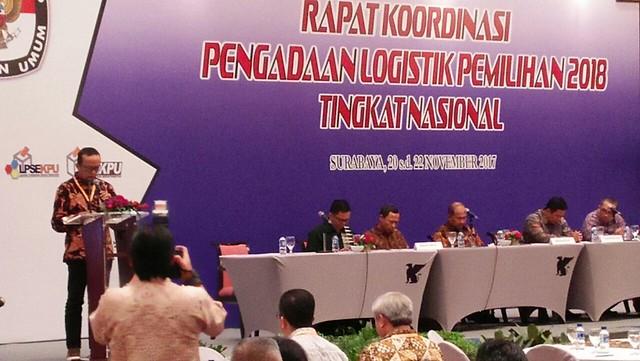 Rakor Pengadaan Logistik Pemilihan 2018 Tingkat Nasional berlangsung di Hotel JW Mariot Surabaya mulai Senin (20/11) sampai Kamis (23/11)