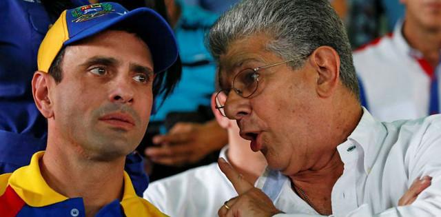 Capriles e Ramos Allup divergiram depois da eleição para governadores, e Capriles saiu da MUD - Créditos: MUD