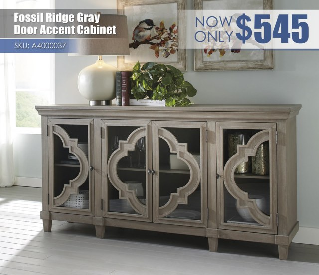 A4000037 - Fossil Ridge Gray Door Accent Cabinet $545