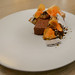 Chocolate Pave, flourless chocolate brownie, burnt persimmon marmalade, yuzu, crispy black sesame, forbidden rice ($12)