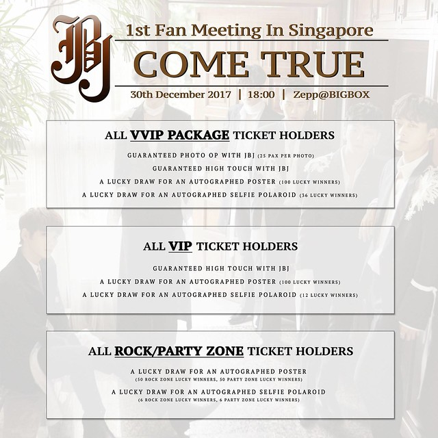 JBJ 1st Asia Fan Meeting 'Come True' Tour in Singapore Fan Benefits